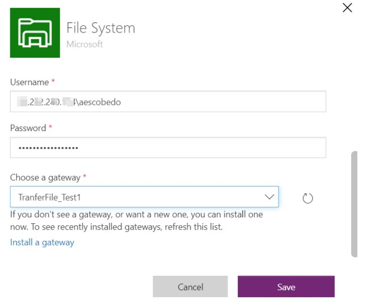 Machine generated alternative text: File System  Microsoft  Username  52.252.240.114\aescobedo  Password *  Choose a gateway *  TranferFile Testl  If you don't see a gateway, or want a new one, you can install one  now. To see recently installed gateways, refresh this list.  Install a gateway  Cancel  CD
